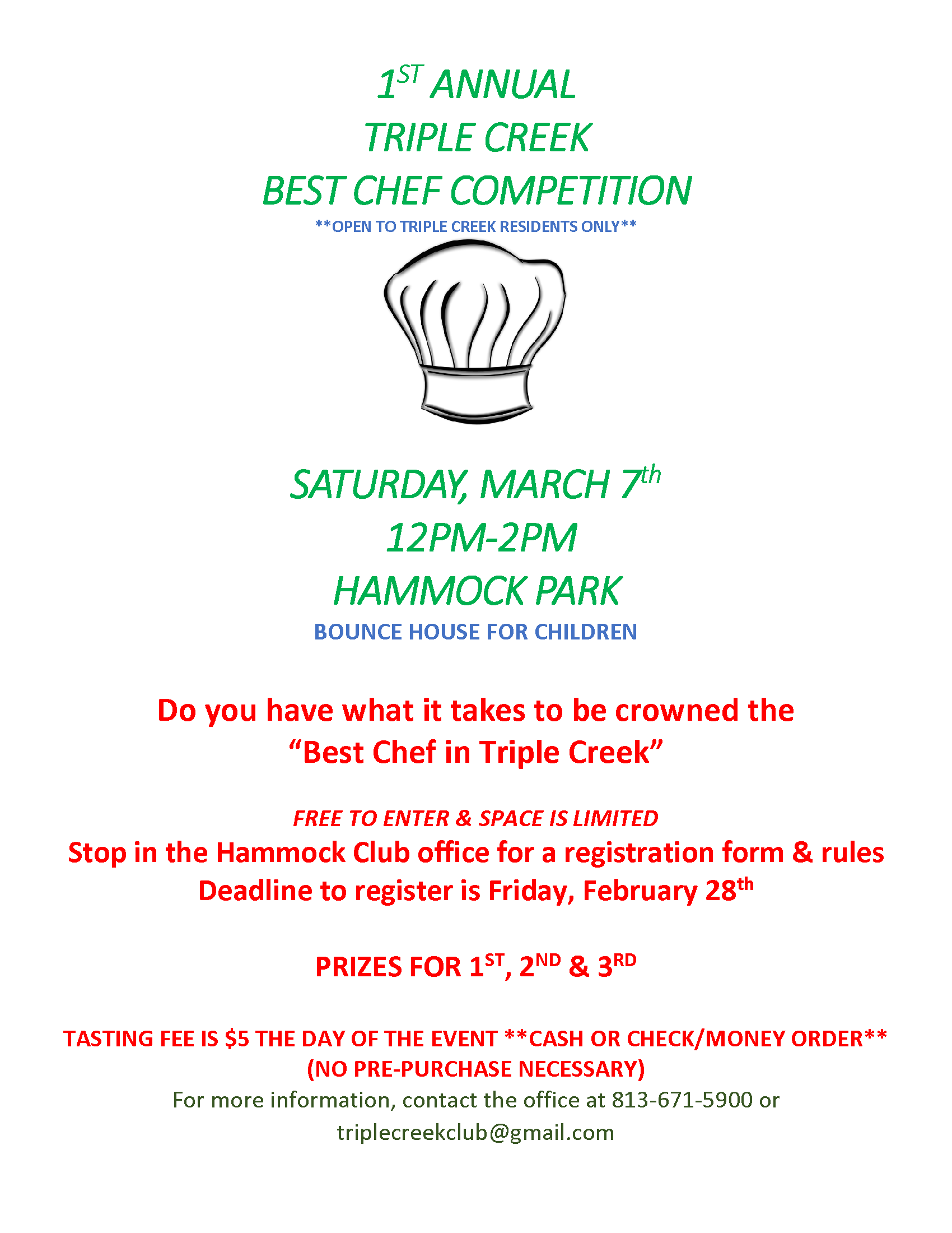 first annual triple creek best chef flyer